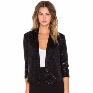 BB Dakota Christel Sequin Blazer:Black:Size:Small